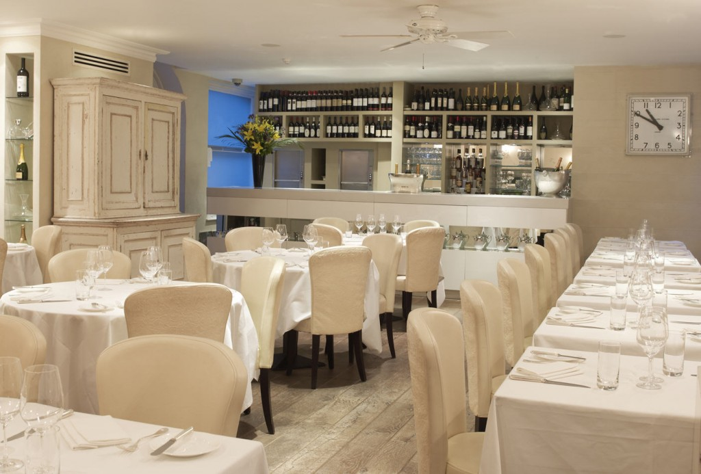The Hunter Brighton Ceiling Fan Shown in the Mayfair Mews Restaurant, London.